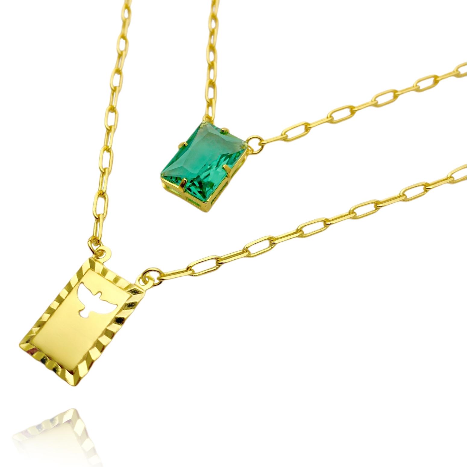 Escapulário Retangulo Espírito Santo Pedra Verde Carrier Diamantada 3mm 70cm (10,3g) (Banho Ouro 24k)