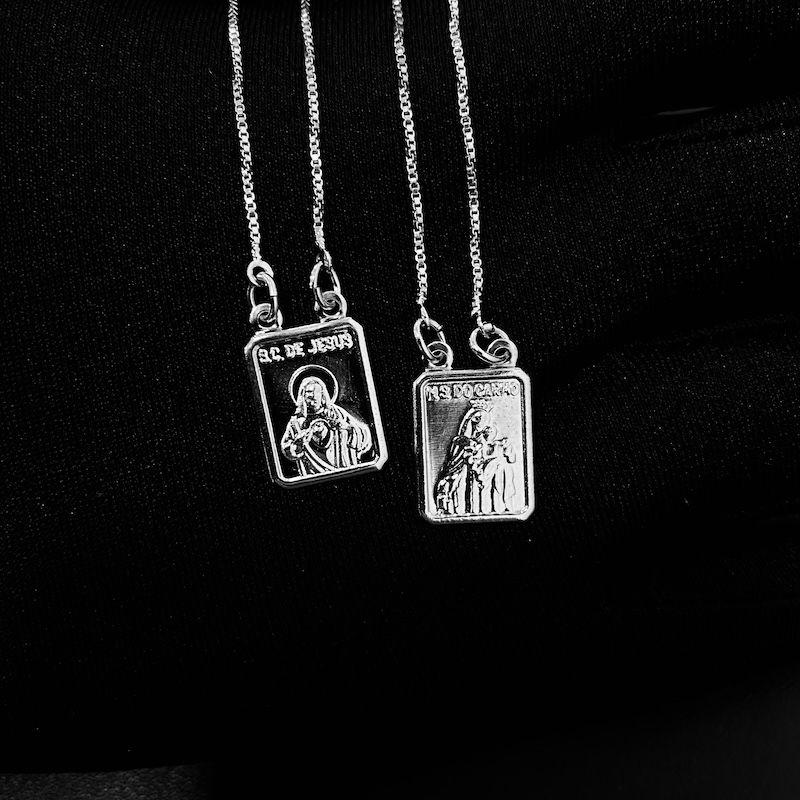Escapulário Sagrado Coração de Jesus e Nossa Senhora do Carmo Mini 70cm Veneziana (Banho Prata 925)