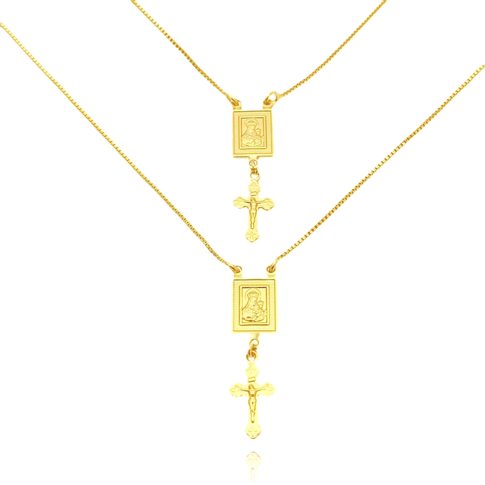 Escapulário Sagrado Coração + Crucifixo 60cm (Banho Ouro 24k)