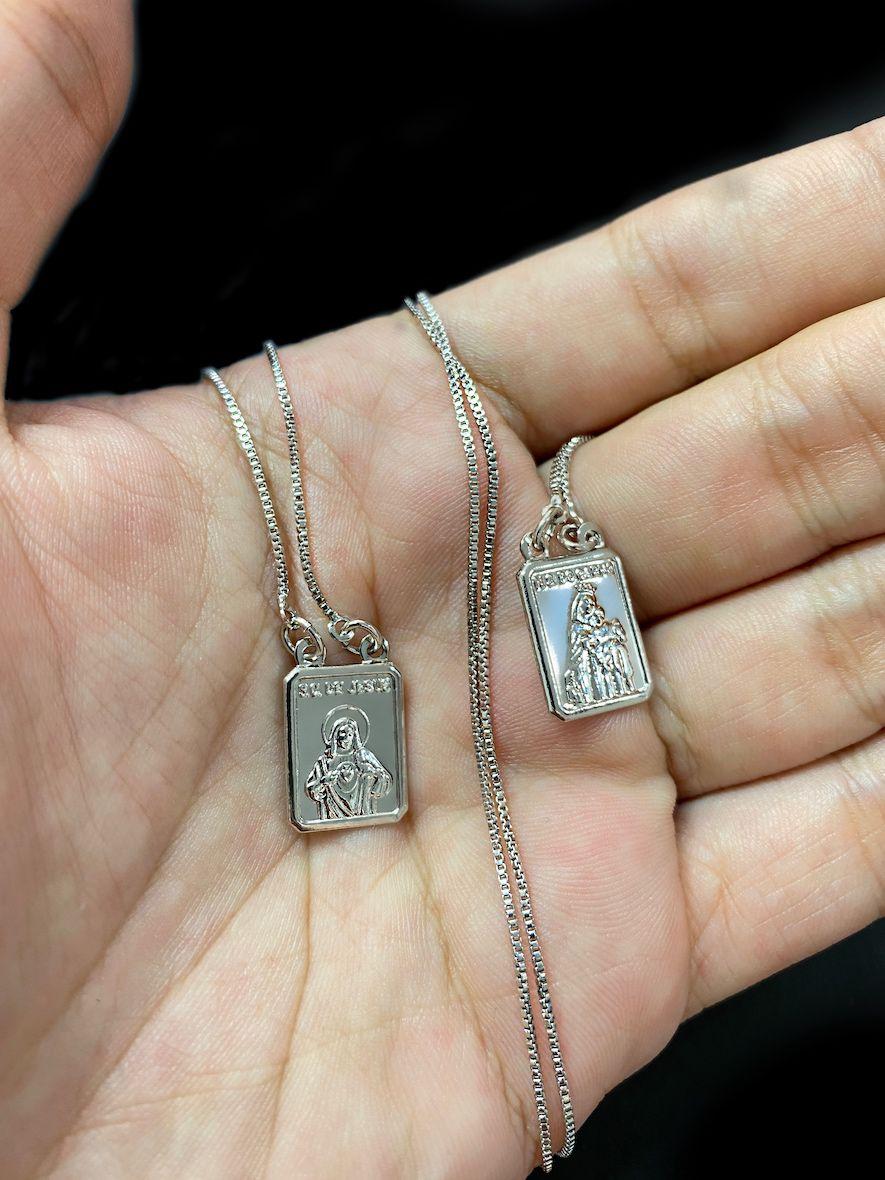 Escapulário Sagrado Coração de Jesus e Nossa Senhora do Carmo 60cm Veneziana (Banho Prata 925)