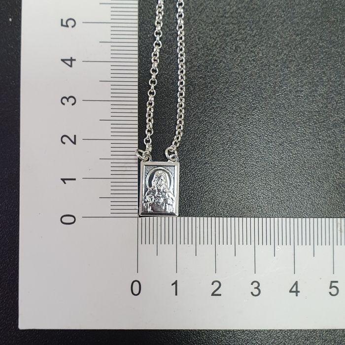 Escapulário Sagrado Coração de Jesus e Nossa Senhora Do Carmo 60cm Elo Português (dupla face) (Banho Prata 925)