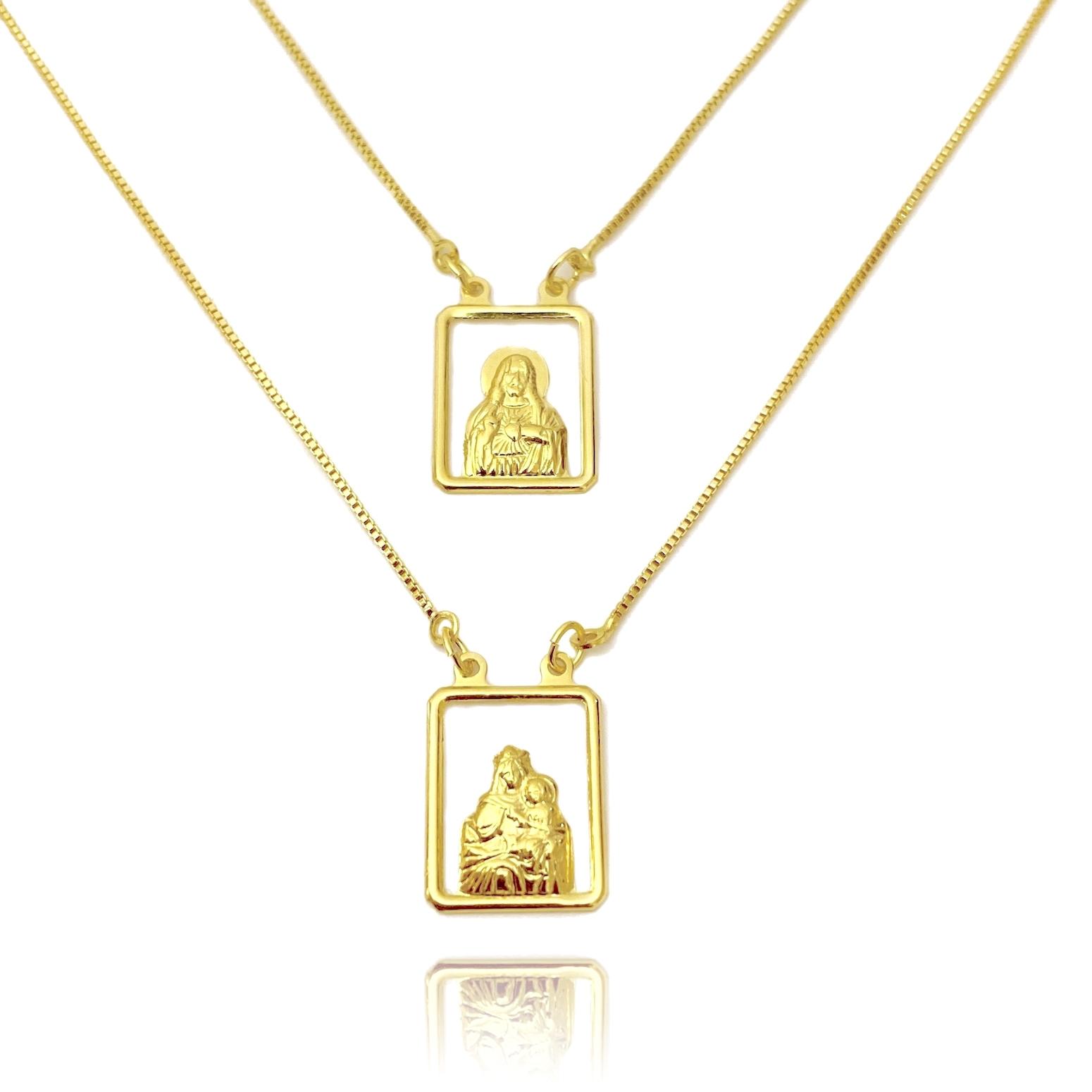 Escapulário Sagrado Coração de Jesus e Nossa Senhora do Carmo Vazado 60cm Veneziana (Banho Ouro 24k)