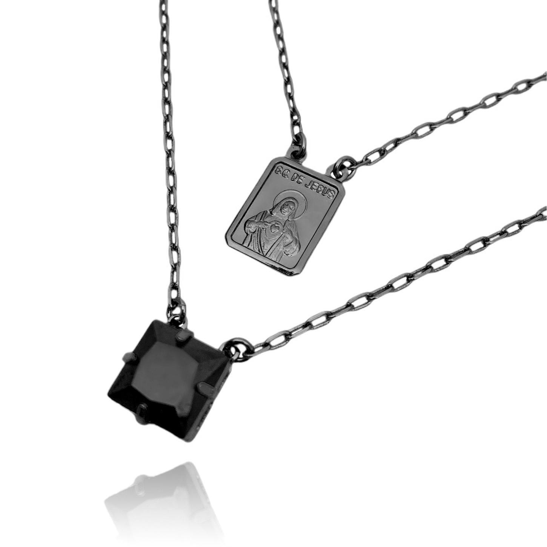 Escapulário Sagrado Coração de Jesus Pedra Preta 2mm 70cm Carrier Diamantada (Banho de Ônix)