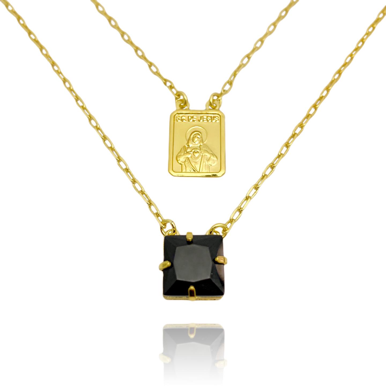 Escapulário Sagrado Coração de Jesus Pedra Preta 2mm 70cm Carrier Diamantada (Banho Ouro 24k)