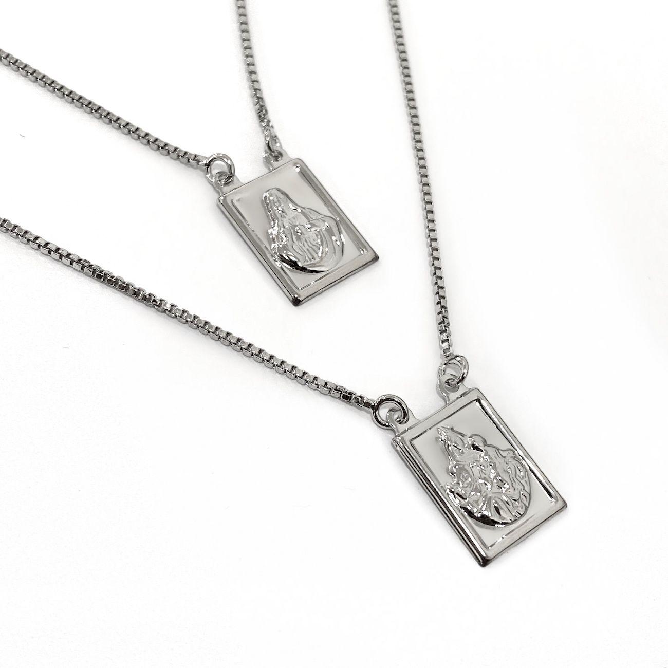 Escapulário Sagrado Coração e Nossa Senhora  60cm Veneziana (Banho Prata 925)