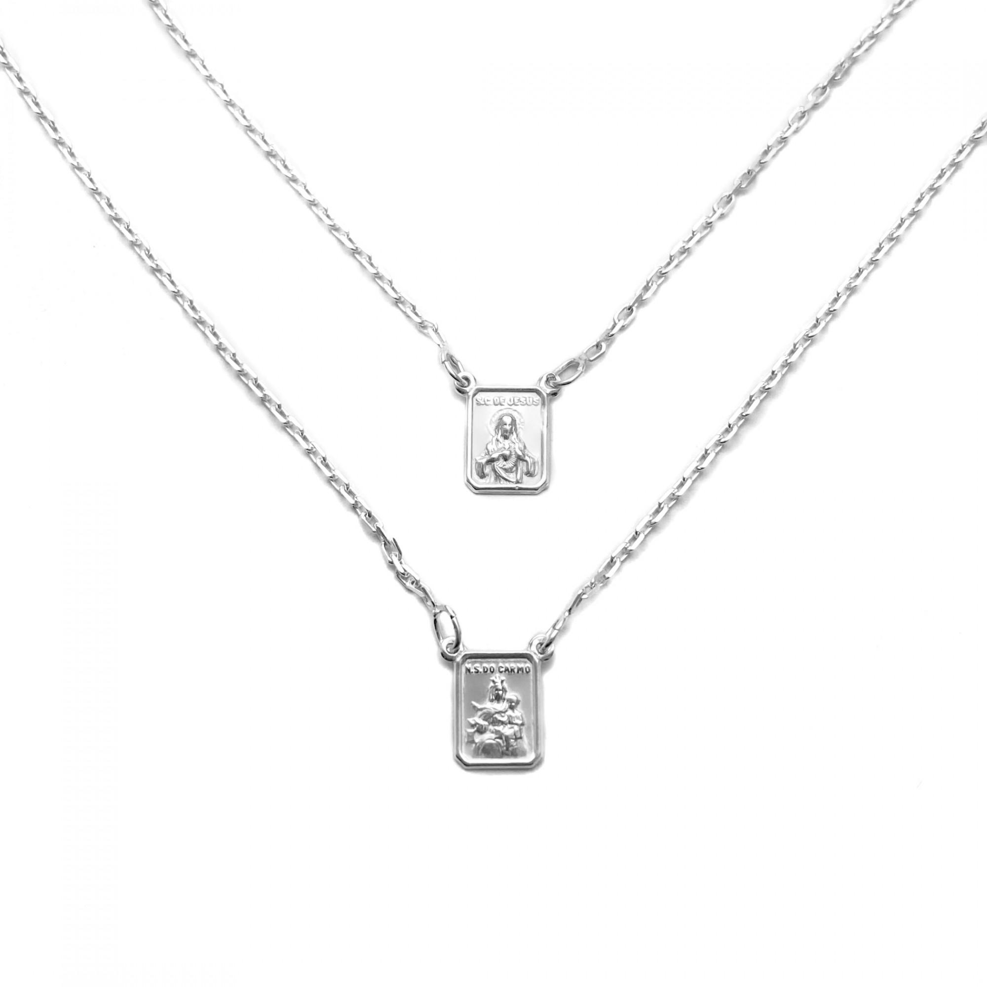 Escapulário Sagrado Coração e Nossa Senhora do Carmo 60cm Carrier (Prata 925 Italiana) E56P