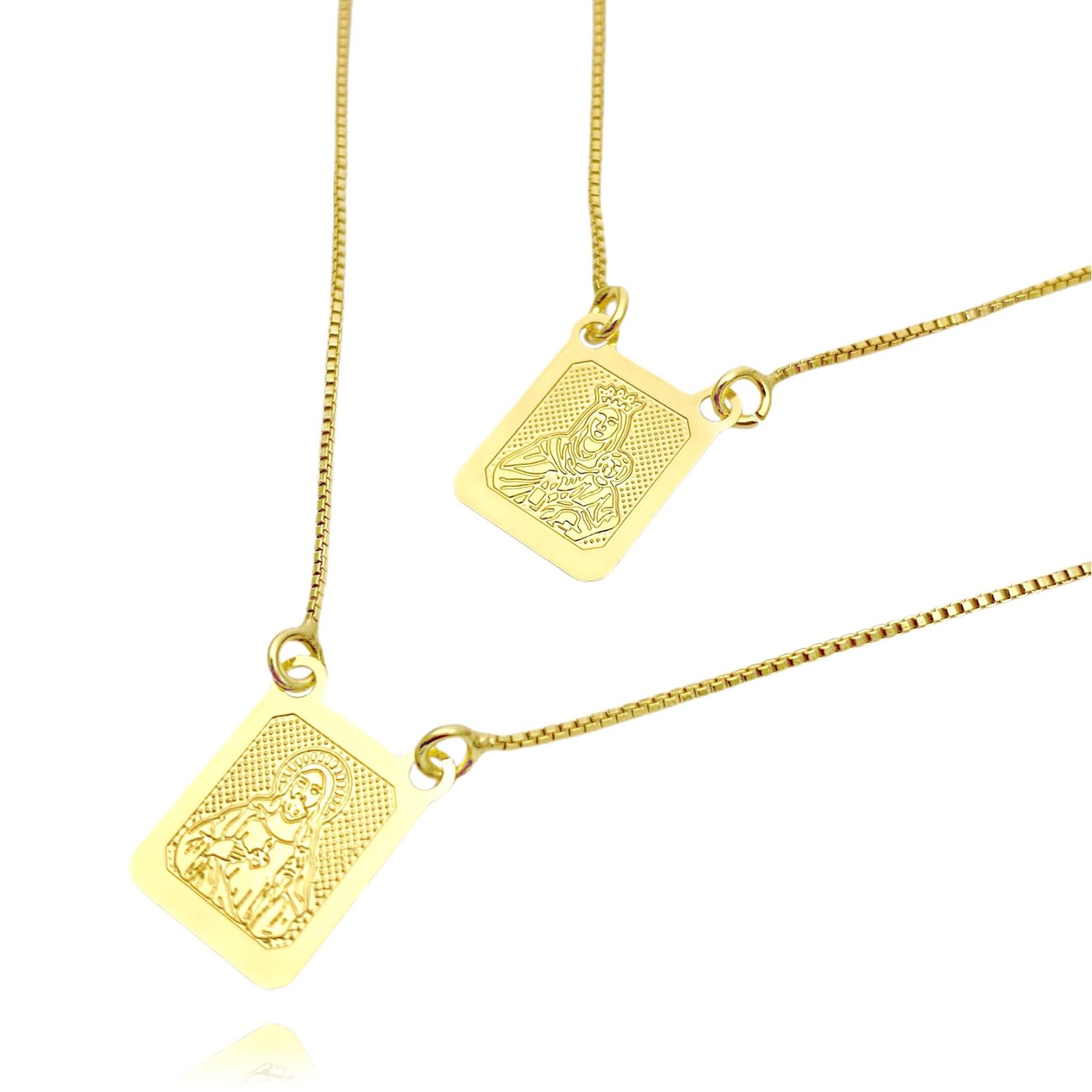 Escapulário Sagrado Coração e Nossa Senhora do Carmo Texturizado 60cm Veneziana (Banho Ouro 24k)