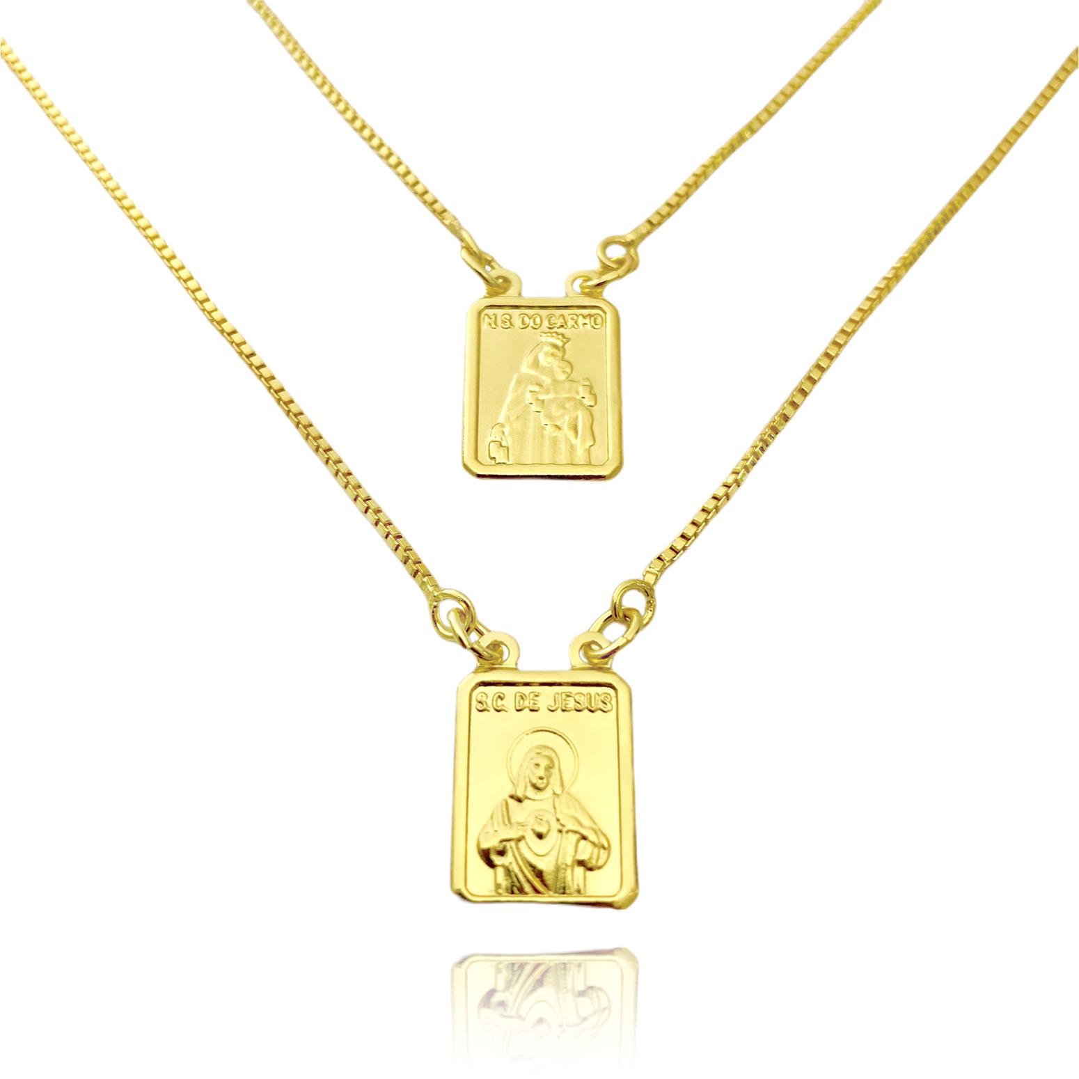 Escapulário Sagrado Coração e Nossa Senhora Do Carmo 60cm Veneziana (Banho Ouro 24k)