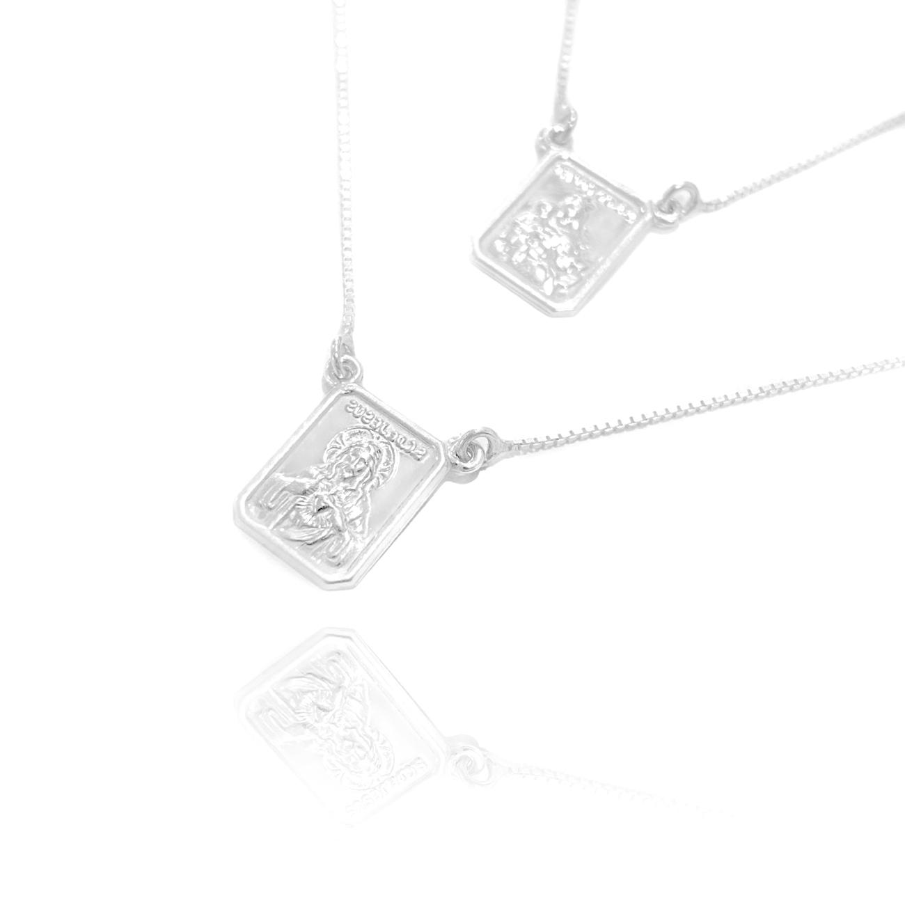 Escapulário Sagrado Coração e Nossa Senhora do Carmo 60cm Veneziana (Dupla Face) (Prata 925 Italiana)