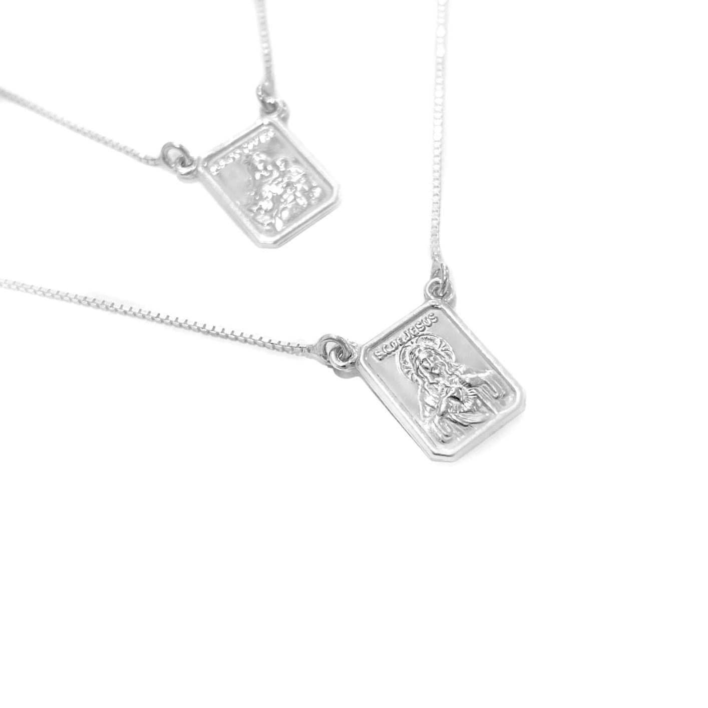 Escapulário Sagrado Coração e Nossa Senhora do Carmo 60cm Veneziana (Dupla Face)(Prata 925 Italiana) E55P