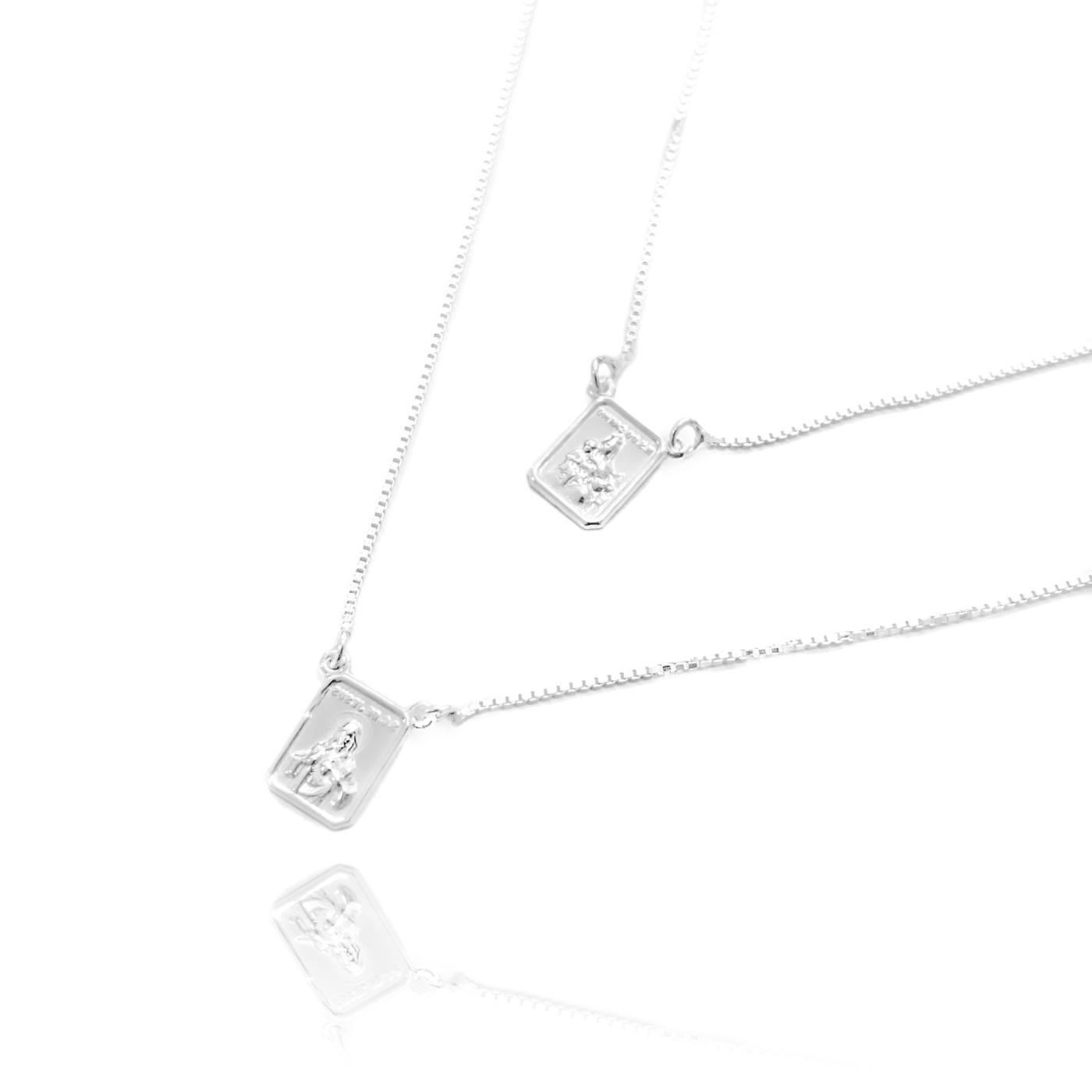 Escapulário Sagrado Coração e Nossa Senhora do Carmo 60cm Veneziana (Prata 925 Italiana)
