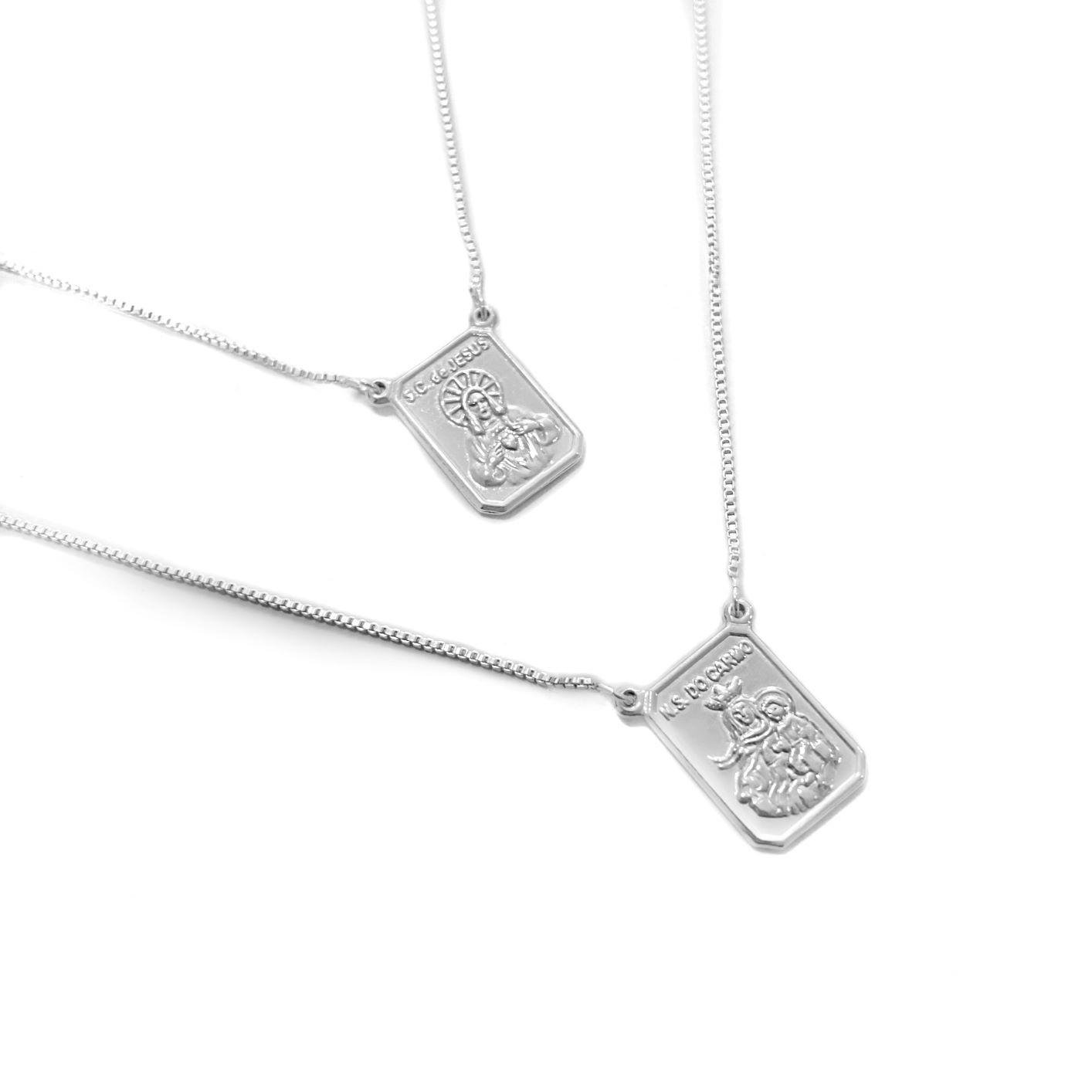 Escapulário Sagrado Coração e Nossa Senhora do Carmo 60cm Veneziana (Prata 925 Italiana) E54P