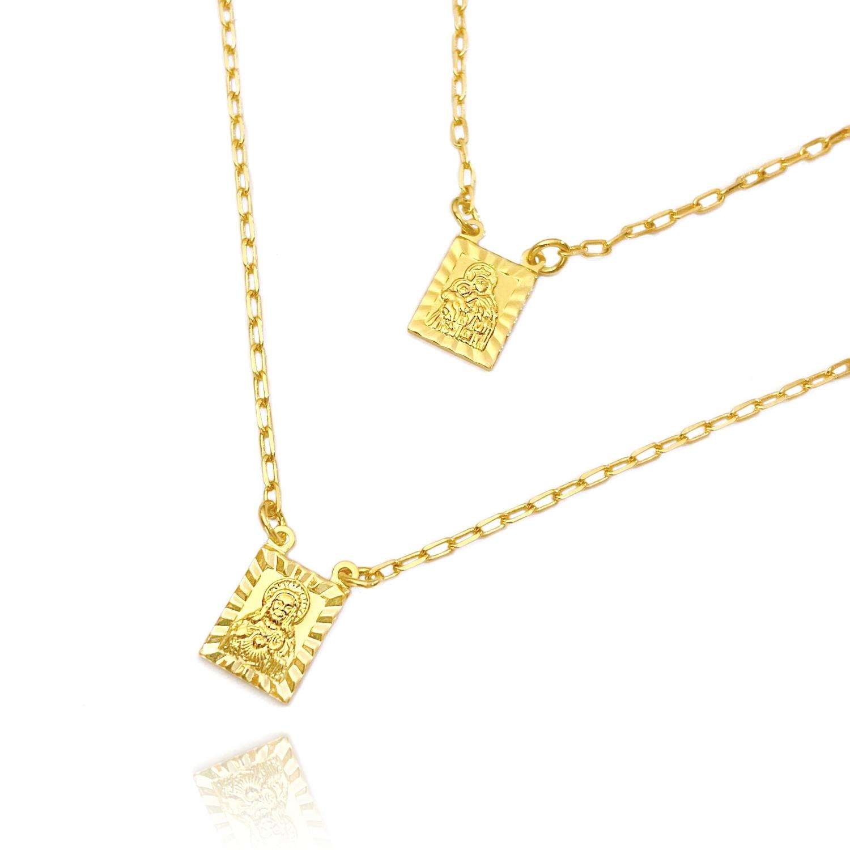 Escapulário Sagrado Coração + N.S Do Carmo Retrato com Textura 70cm Carrier Diamantada (Banho Ouro 24k)