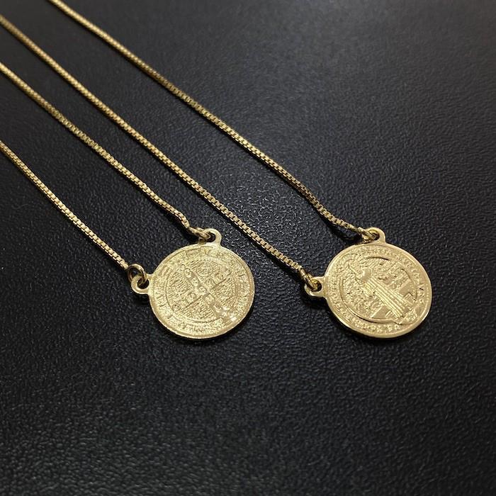 Escapulário São Bento Dupla Face 70cm Veneziana (Banho Ouro 24k)