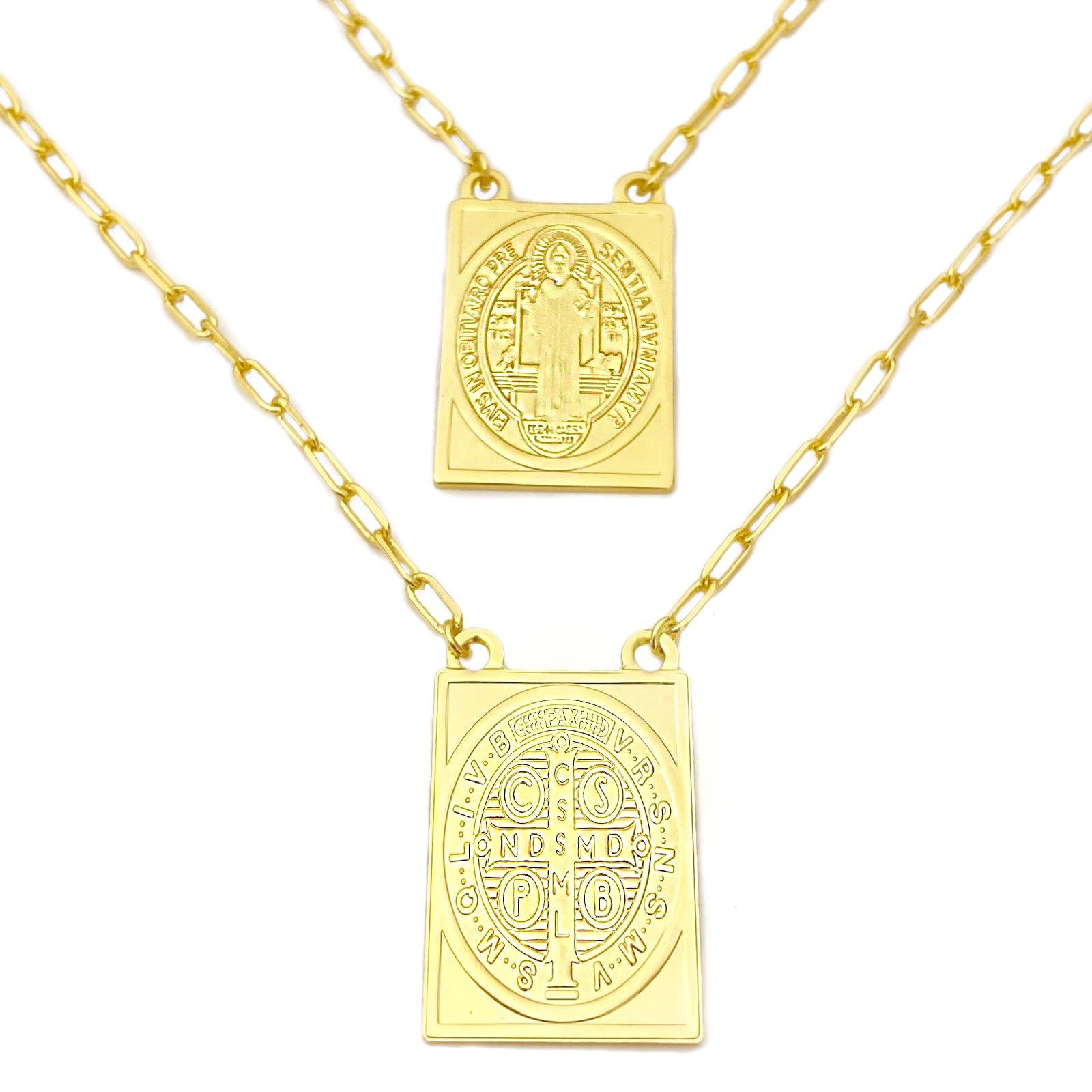 Escapulário São Bento + Oração (Pingente 3cm x 2,1cm) Carrier Diamantada 2,8mm 60cm (16,2g) (Banho Ouro 24k)
