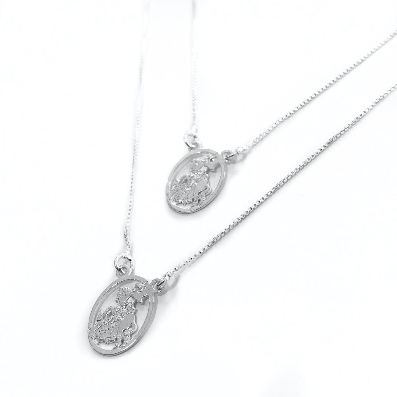 Escapulário São Jorge Mini Oval Vazado (Prata 925 Italiana)