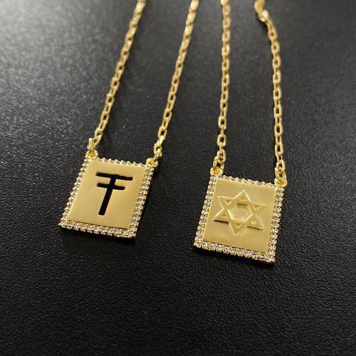 Escapulário Trigo e Estrela de Davi Cravejado em Zircônia 60cm Carrier Cadeado (Banho de Ouro 24k)