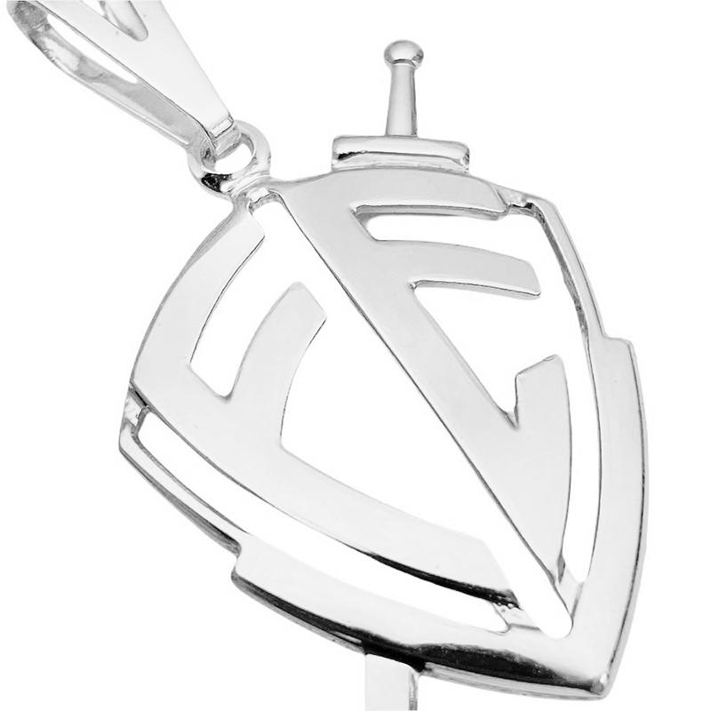 Escudo Da Fé Vazado P (3,1cmX3cm) (Banho Prata 925)