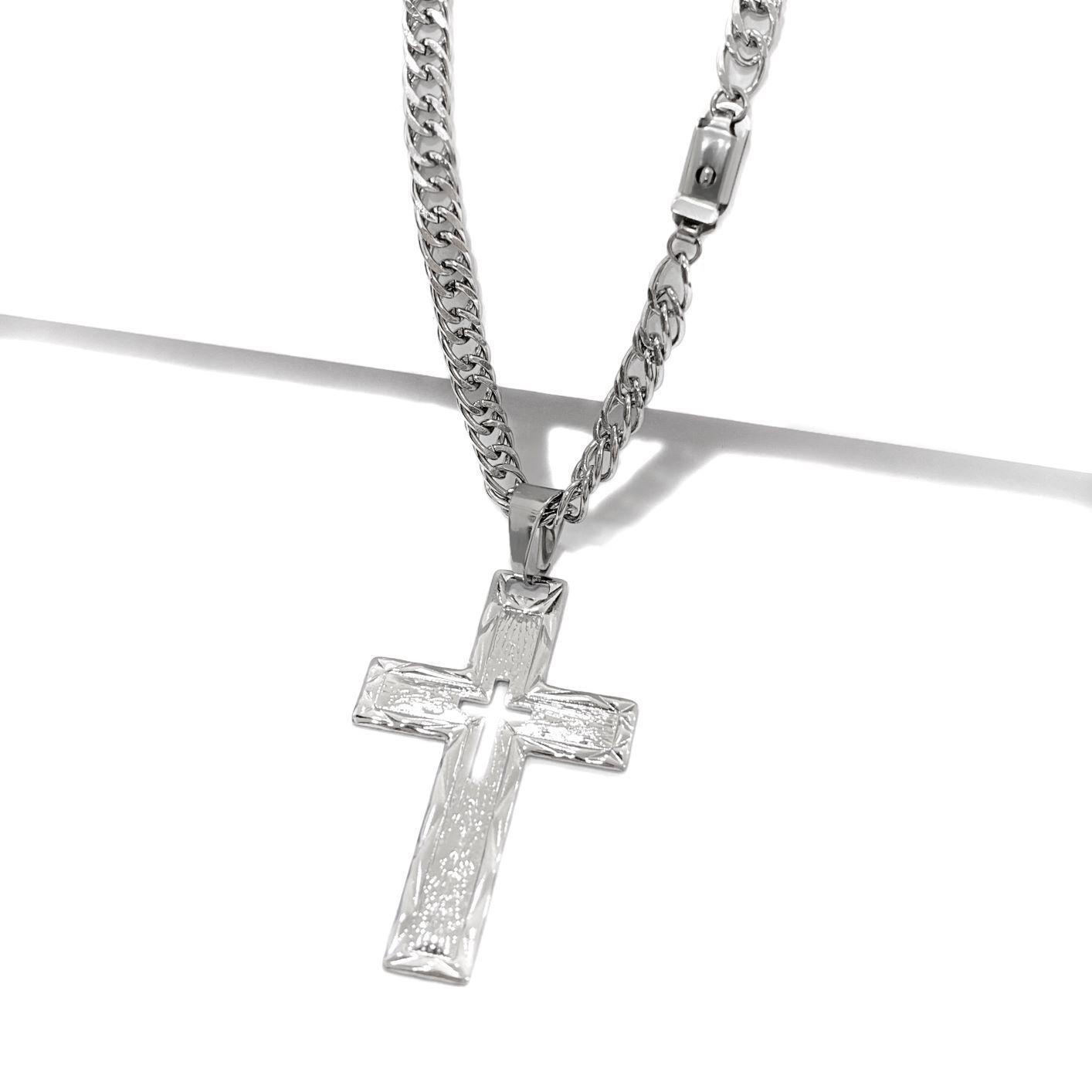 Exclusivo ML - Kit 01 Aço Inox Double Grumet 6mm 70cm + Crucifixo Vazado 70cm ref.5.544 *