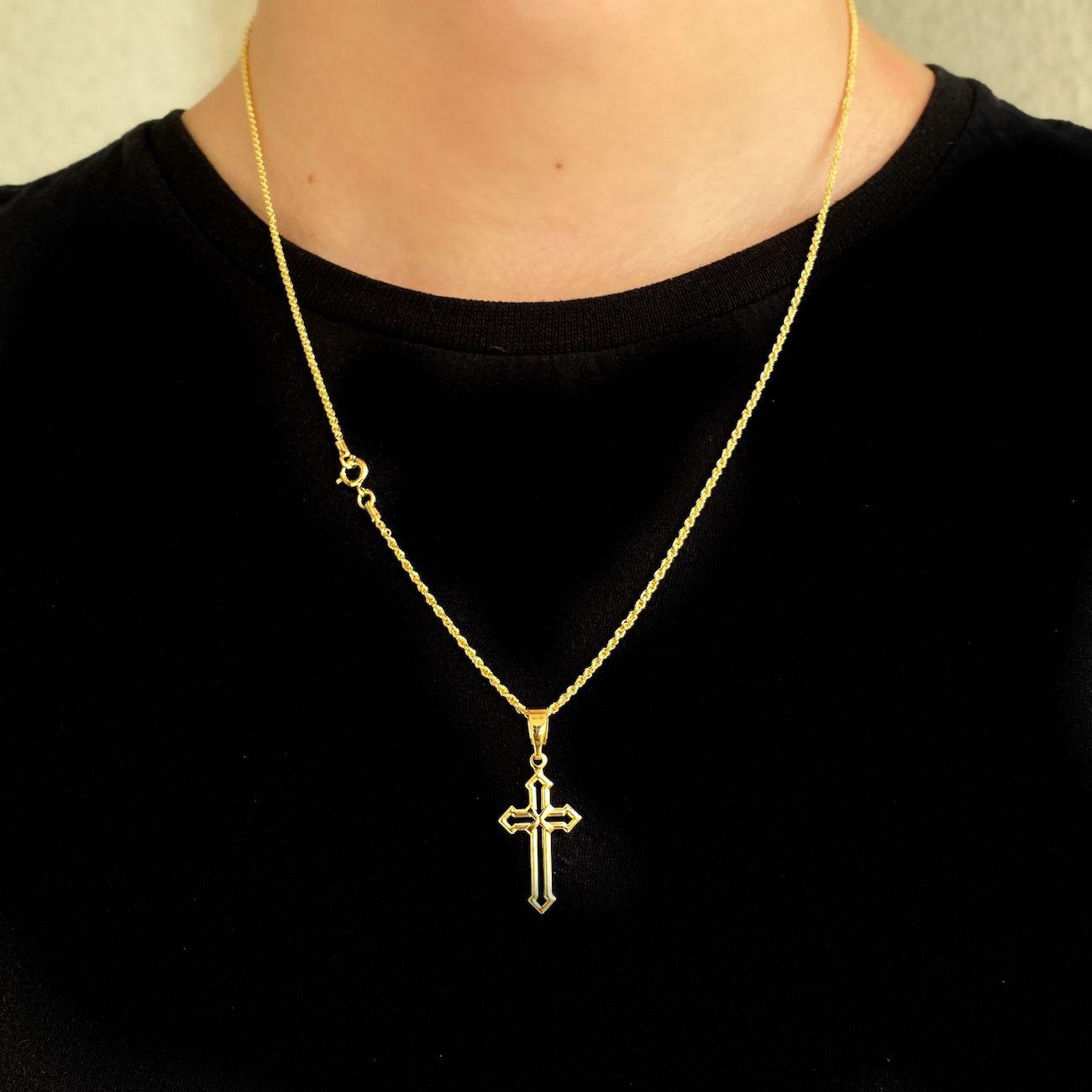 Kit 134 Corrente Cordão Baiano 1,8mm (60,70cm) + Crucifixo Vazado (Fecho Tradicional) *