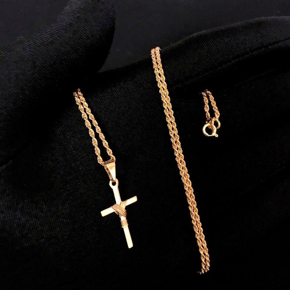 Kit 31 Cordão Baiano Diamantado 1,8mm 70cm (Fecho Tradicional) + Crucifixo Trançado Mini *