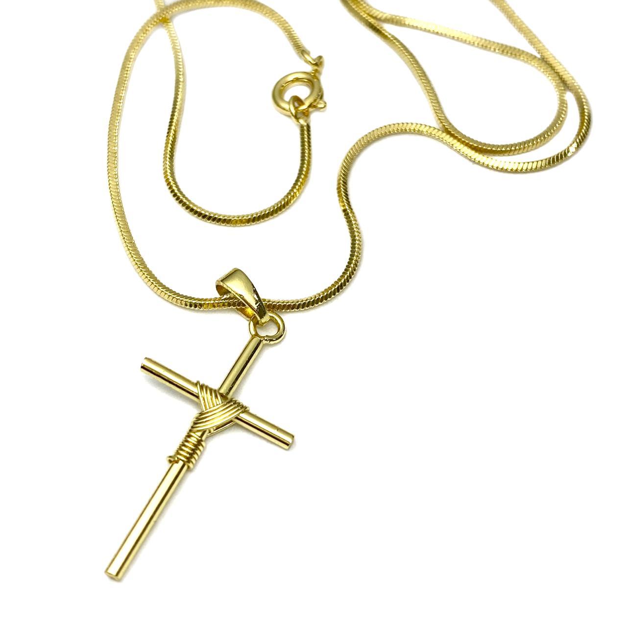 Kit 69 Corrente Rabo de Rato Q. 1,2mm 70cm (Fecho Tradicional) + Crucifixo Transado