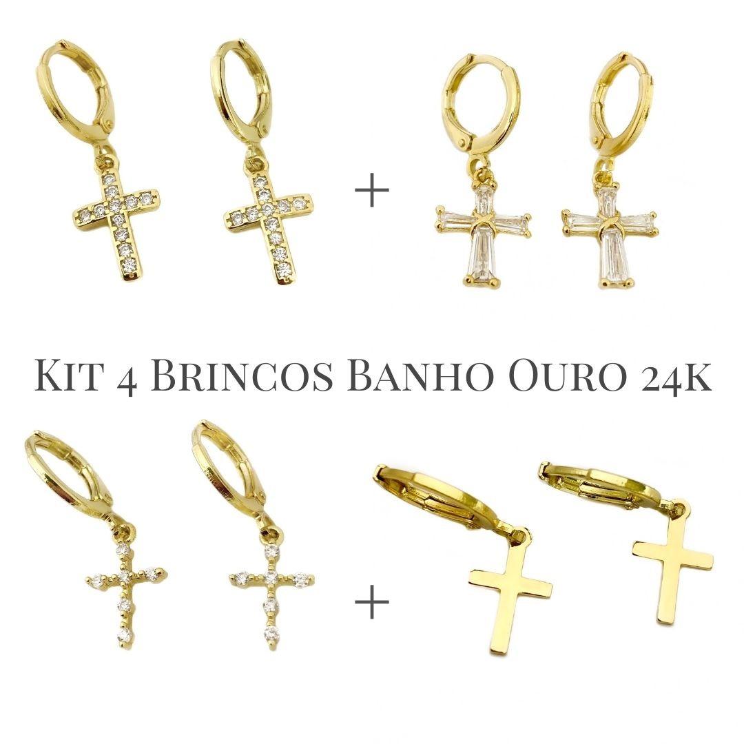 Kit Brinco Cruz Gótica Cravejado em Zircônia + Brinco de Cruz Roma Cravejados em Zircônia + Brinco Cruz Cravejada em Zircônia P +Brinco de Cruz Chapada (Banho Ouro 24k)