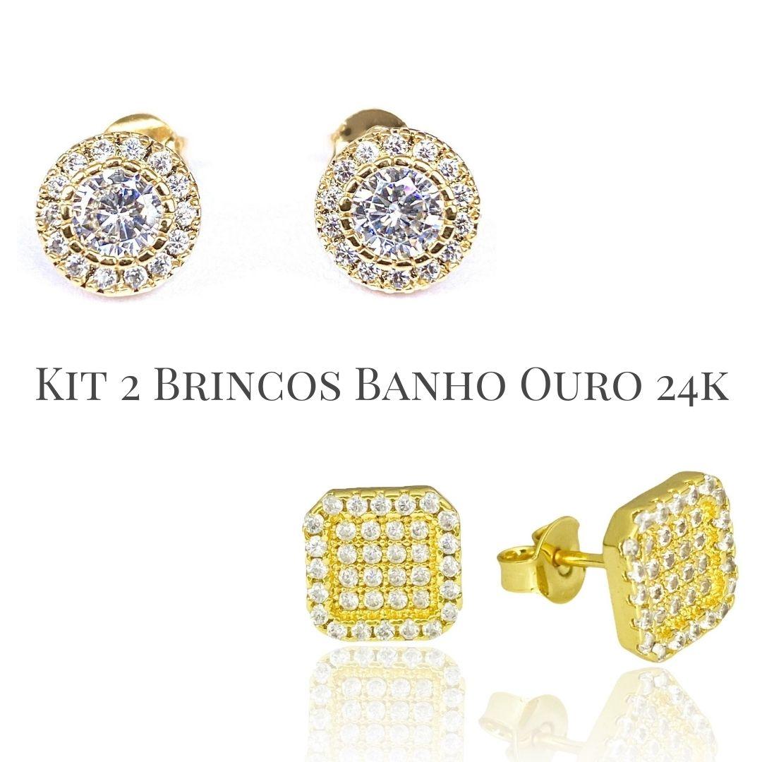Kit Brinco Redondo Cravejado 15 Pedras de Zircônia (Banho Ouro 24k) + Brinco Quadrado Cravejado em Zircônia 36 pedras  (Banho Ouro 24k)