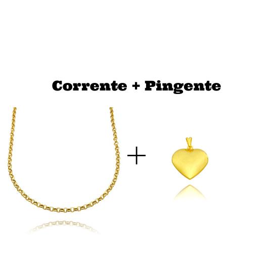 kit Colar Elo Portugues 2,8mm 45cm (8,1g)  + Pingente Coração Liso (2,2cm X 2,1cm) (Banho Ouro 24k)