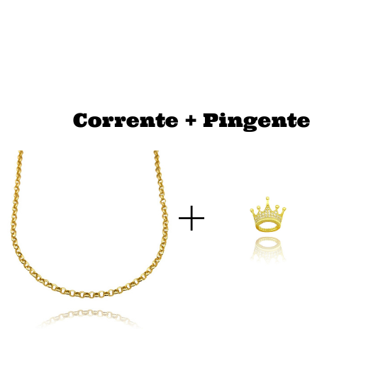 kit Colar Elo Portugues 2,8mm 45cm (8,1g) + Pingente Coroa Cravejado em Zircônia