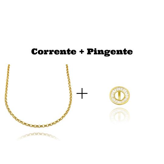 kit Colar Elo Portugues 2,8mm 45cm (8,1g) + Pingente Medalha Vazada Cravejada em Zircônia (1,5x1,5cm)