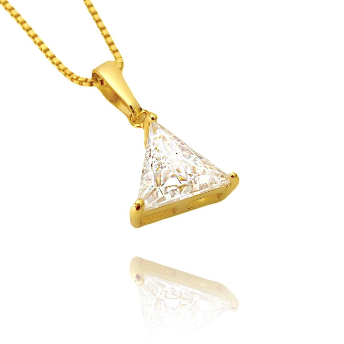 kit Colar Elo Portugues 2,8mm 45cm (8,1g) + Pingente Triângulo Pedra Zircônia