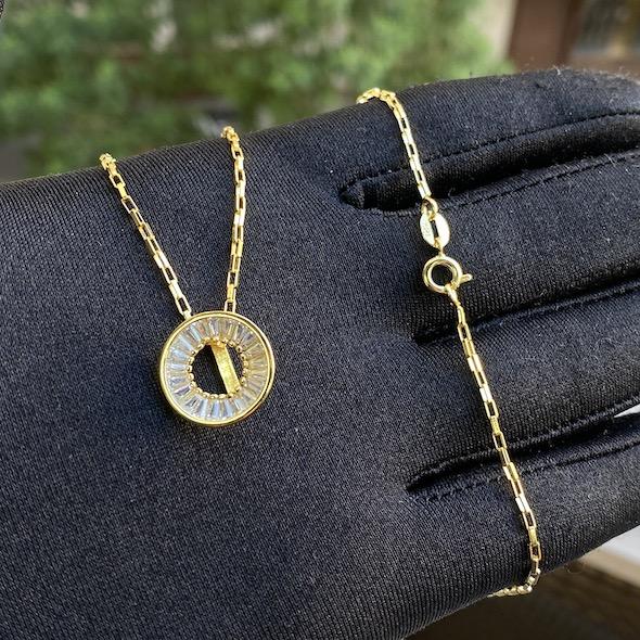 kit Corrente 3 por 1 1,6mm 40cm (Fecho Tradicional) (Banho Ouro 24k) + Pingente Medalha Vazada Cravejada em Zircônia (1,5x1,5cm) (Banho Ouro 24k)