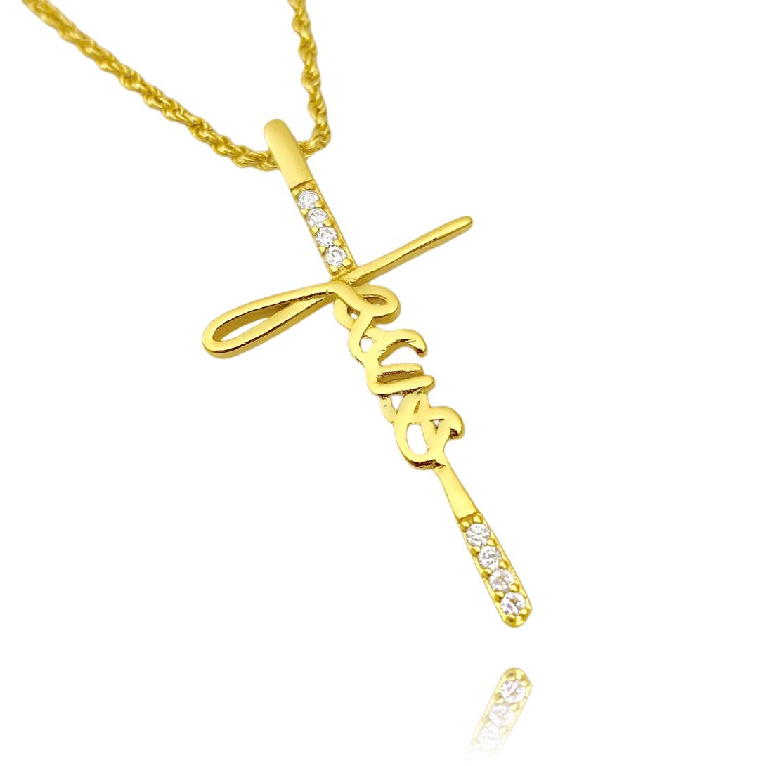 kit Corrente 3 por 1 1,6mm 40cm (Fecho Tradicional) + Pingente Crucifixo Jesus Cravejado em Zircônia (3,9x2,0cm)