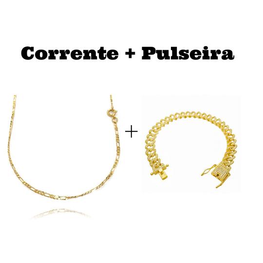 kit Corrente 3 por 1 2mm 60cm (Fecho Tradicional) + Pulseira Cuban Link Cravejada em Zircônia 10mm (23,6g)