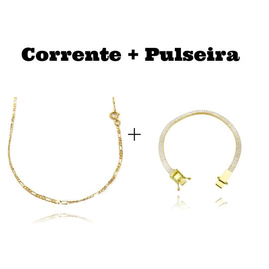 kit Corrente 3 por 1 2mm 60cm (Fecho Tradicional) + Pulseira Riviera Baguetes 4mm (Pedras de Zircônia) (Fecho Gaveta Duplo)