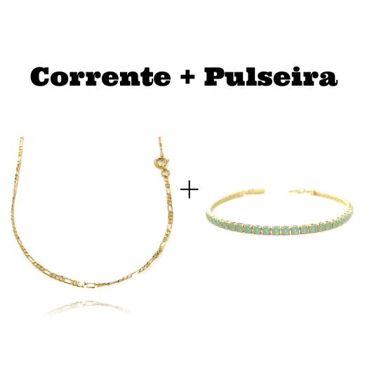 kit Corrente 3 por 1 2mm 60cm (Fecho Tradicional) + Pulseira Riviera Pedras de Zircônia Verde 3mm 7g (Fecho Canhão)