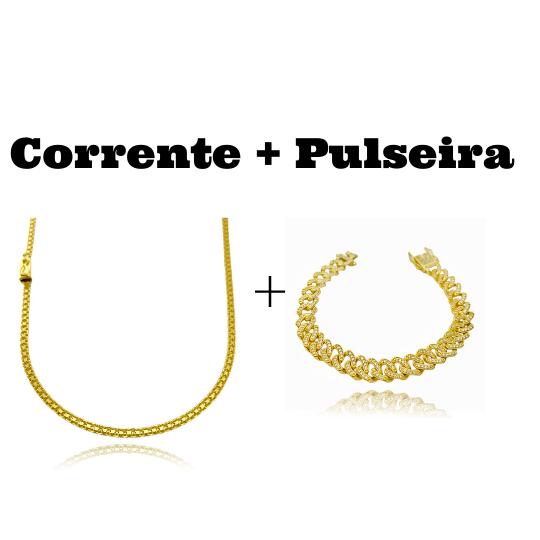 kit Corrente Cadeado Duplo 2,8mm 60cm 8g (Fecho Gaveta) + Pulseira Cuban Link Cravejada em Zircônia 10mm (23,6g)