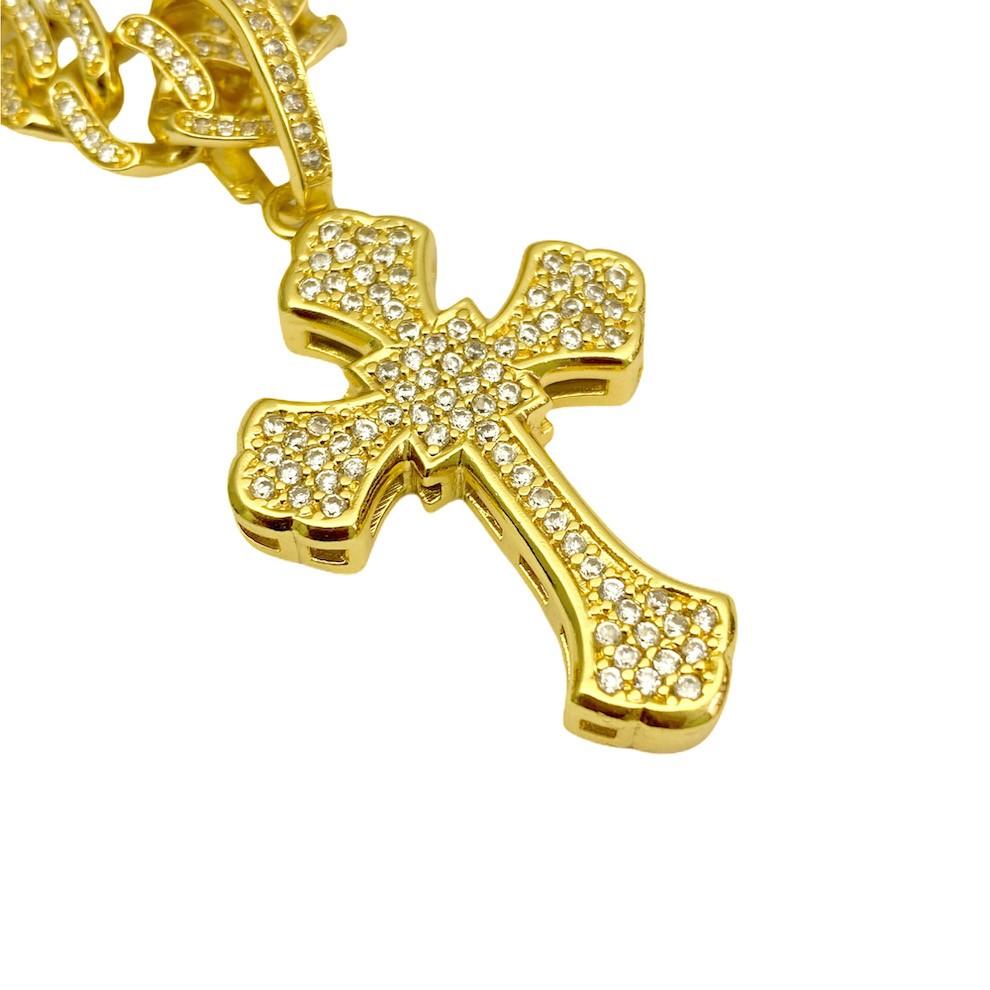 kit Corrente Cadeado Oca 6,8mm 60cm (25g) (Fecho Personalizado) + Pingente Crucifixo Catedral Cravejado em Zircônia 9,5g 4,3cm X 2,9cm