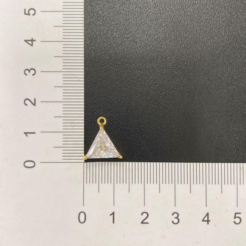 kit Corrente Carrier Cadeado 2mm 40cm (Fecho Tradicional) + Pingente Triângulo Pedra Zircônia