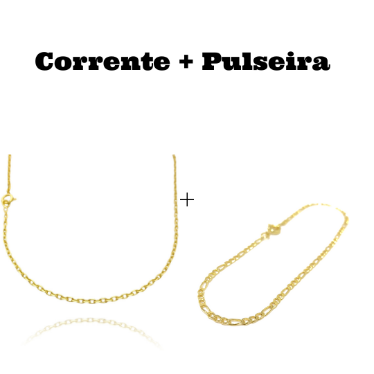 kit Corrente Carrier Cadeado 2mm 60cm (Fecho Tradicional) + Pulseira 3 por 1 2mm (Fecho Tradicional)