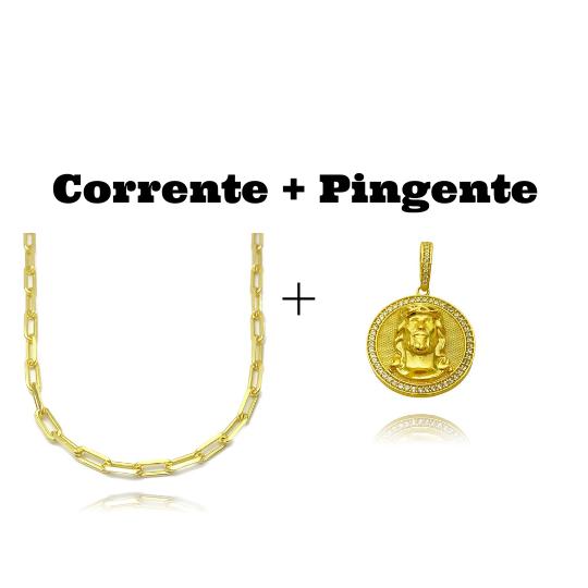 kit Corrente Carrier Diamantada 5mm 60cm 25g (Fecho Canhão) + Pingente Medalha Rosto de Cristo Cravejado 3D (4cmX3,5cm) (15,2g)