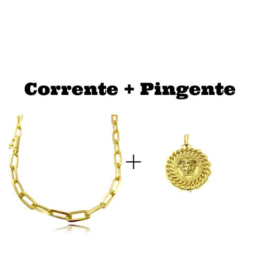 kit Corrente Carrier Diamantada 6,5mm 60cm (34,5g) (Fecho Canhão) + Pingente Medusa Octa 6,5g 2,7cm x 2,7cm