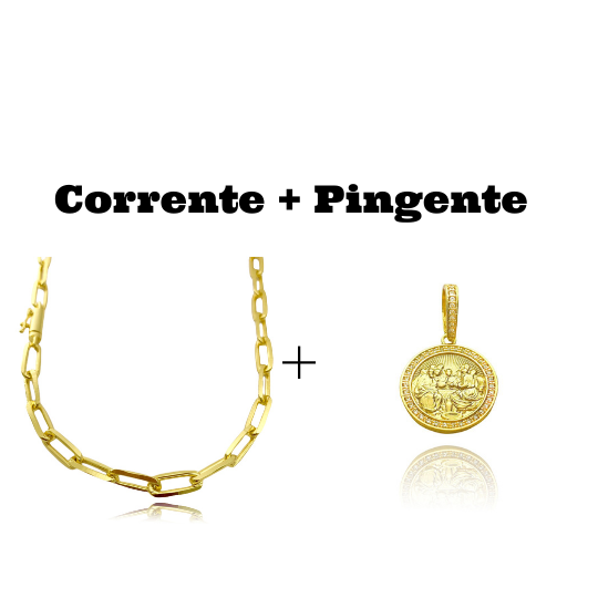kit Corrente Carrier Diamantada 6,5mm 60cm (34,5g) (Fecho Canhão) + Pingente Santa Ceia Cravejado em Zircônia (3,2X2,8cm) (7,8g)