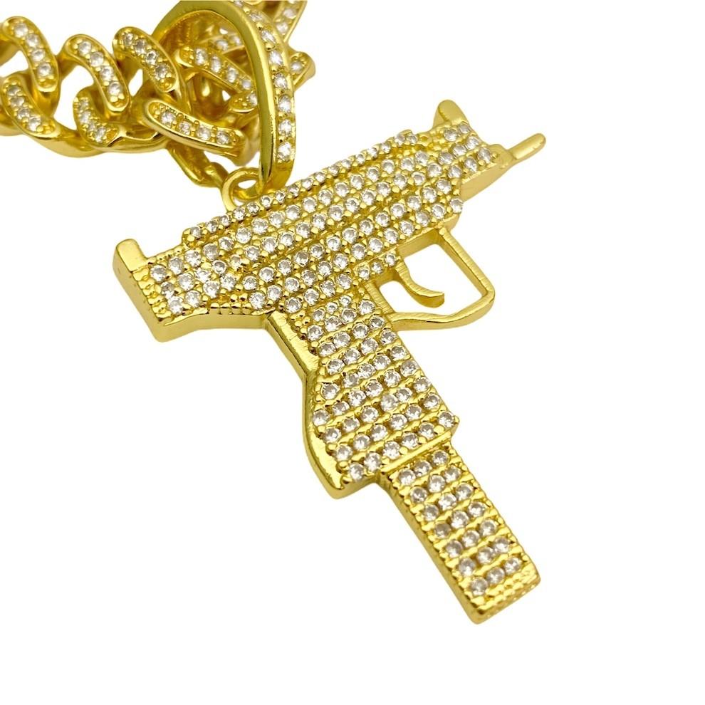 kit Corrente Cordão Baiano 5mm 60cm 41g (Fecho Canhão) (Banho Ouro 24k) + Pingente Cifrão $ Cravejado em Zircônia (Dourado) 4,6cm X 2,9cm 9g