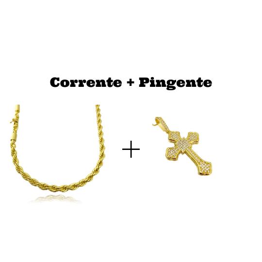 kit Corrente Cordão Baiano 5mm 60cm 41g (Fecho Canhão) (Banho Ouro 24k) + Pingente Crucifixo Catedral Cravejado em Zircônia 14g (5,2x3,2cm)