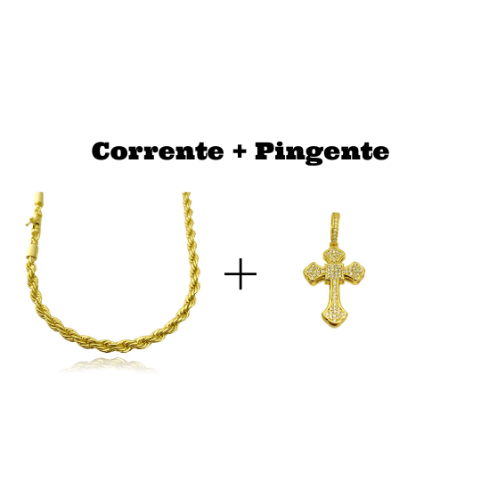 kit Corrente Cordão Baiano 5mm 60cm 41g (Fecho Canhão) + Pingente Crucifixo Catedral Cravejado em Zircônia 9,5g 4,3cm X 2,9cm