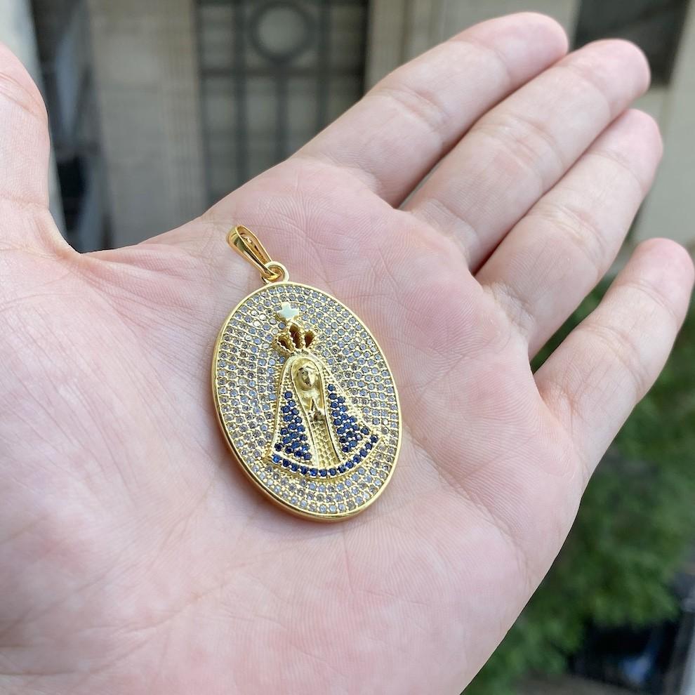 kit Corrente Cordão Baiano 5mm 60cm 41g (Fecho Canhão) + Pingente Nossa Senhora Aparecida Oval Cravejado em Zircônia (10,2g) (4,0x3,0cm)