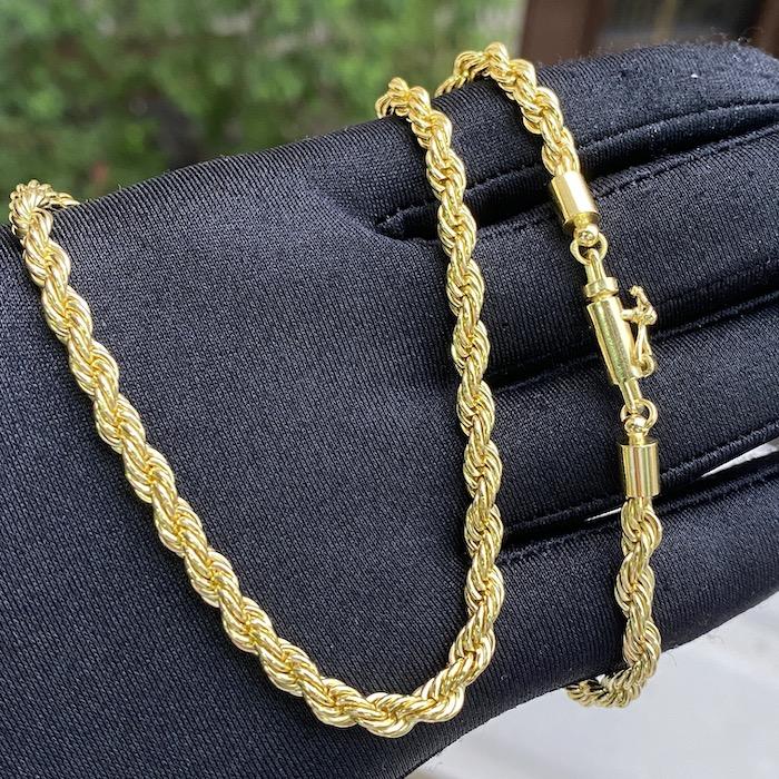 kit Corrente Cordão Baiano 5mm 60cm 41g (Fecho Canhão) + Pulseira Cuban Link Retangular Cravejada em Zircônia 14mm (32,1g)