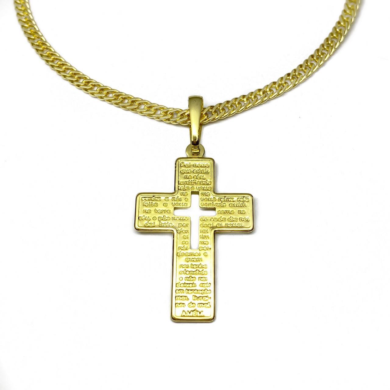 Kit Corrente Double Grumet 3mm 70cm 12g (Fecho Gaveta) (Banho Ouro 24K) + Pingente Crucifixo Pai Nosso 3,3cm X 2,1cm (Banho Ouro 24k)